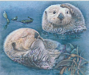 Otter Mixed Media Posters - Otter Odyssey Poster by Beverly Chick