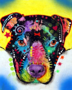 Dog Art Paintings - Otter Pitbull by Dean Russo