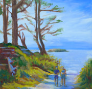 Lincoln City Painting Framed Prints - Otter Rock Marine Garden Path Framed Print by Pam Van Londen