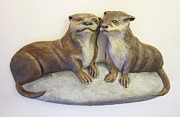Ceramic Reliefs - Otters by Janet Knocke