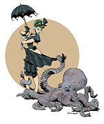Girl Digital Art Prints - Otto By The Sea Print by Brian Kesinger