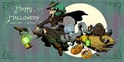 Halloween Posters - Ottos First Flight Poster by Brian Kesinger