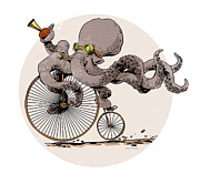 Transportation Glass Posters - Ottos Sweet Ride Poster by Brian Kesinger