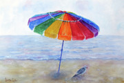 Umbrella Drawings Framed Prints - Our Beach Framed Print by Loretta Luglio