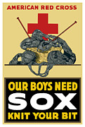 Cross Art Mixed Media Prints - Our Boys Need Sox Knit Your Bit Print by War Is Hell Store