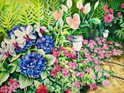 Orchid Art Paintings - Our Garden by Barbara Eberhart - Printscapes