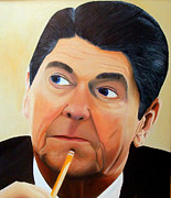 Reagan Painting Framed Prints - Our GREAT 40th President Framed Print by JoeRay Kelley