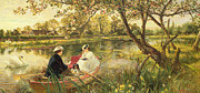 Dog Swimming Paintings - Our Holiday by Charles James Lewis