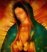 Virgin Mixed Media Posters - Our Lady of Guadalupe Poster by Bill Cannon