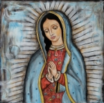 Folk Art Painting Posters - Our Lady of Guadalupe Poster by Rain Ririn