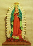 Intarsia Sculpture Posters - Our Lady of Guadalupe Poster by Russell Ellingsworth