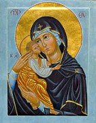 Byzantine Painting Prints - Our Lady of Tenderness Print by Juliet Venter