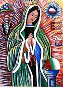 Catholic Art Painting Originals - Our Lady of the Perpetual Populous Mix by Randy Segura