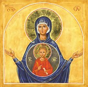 Byzantine Painting Prints - Our Lady of the Sign Print by Juliet Venter