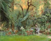 Italy Painting Prints - Our Little Garden Print by Guido Borelli