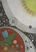 Atmospheric Drawings Prints - Our Little Universe and Beyond Print by Janet Hinshaw