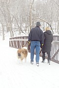 Dog Walking Photo Prints - Our Love Will Keep Us Warm Print by Larry Ricker