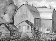 Monotone Paintings - Our old barn by Saga Sabin