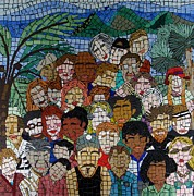 Crowd Mixed Media Prints - Our People Our Land Print by Jane Santos