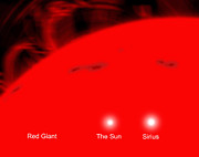Large Scale Digital Art Prints - Our Sun And The Star Sirius Compared Print by Ron Miller