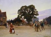 Hoop Painting Prints - Our Village Print by Hubert von Herkomer