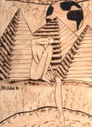 Pyramids Pyrography Framed Prints - OUR WORLD No.1  Still and Silent Framed Print by Neshka Muchalska