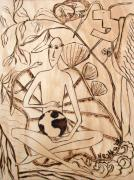 Surrealism Pyrography Acrylic Prints - OUR WORLD No.3  Divine Plan Acrylic Print by Neshka Agnieszka Muchalska