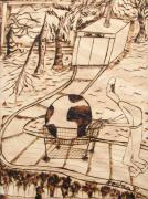 Burnt Pyrography Posters - OUR WORLD No.4  Middle Class Illusions Poster by Neshka Muchalska