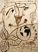 Surreal Pyrography Framed Prints - OUR WORLD No.5  Married Miscommunication Framed Print by Neshka Muchalska