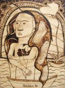 Surrealism Pyrography Framed Prints - OUR WORLD No.6 - The Awaken Framed Print by Neshka Muchalska