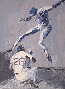 Second Baseman Framed Prints - Out at Second Framed Print by Charles Schuch