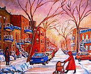 Montreal Streets Painting Originals - Out for a Walk with Mom by Carole Spandau