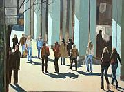 Cities Paintings - Out for a walk with shadows number two by Tate Hamilton