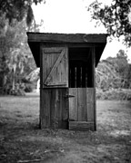 Antique Outhouse Framed Prints - Out House in Black and White Framed Print by Rebecca Brittain
