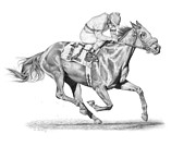 Thoroughbred Drawings - Out in Front by Dee Dee Murry