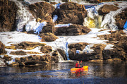 Lewiston Prints - Out My Backdoor Number 5 Winter Kayaking  Print by Bob Orsillo
