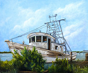 Shrimp Boat Paintings - Out of Commission  by Elaine Hodges