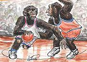 Basketball Paintings - Out of my Way by George I Perez
