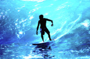 Surf Silhouette Prints - Out of the Blue Print by James  LaValley