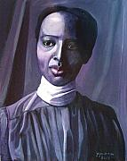 African American Sculptures - Out of the Box Woman in High Draped Blouse by Joyce Owens