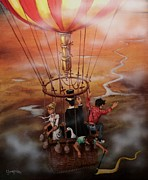 Hot Air Balloon Painting Posters - Out of the Clouds Poster by Tom Shropshire