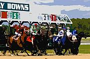 Horse Racing Art Prints - Out of the gate Print by David Lee Thompson