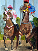 Jockey Painting Originals - Out of the Gate by Michael Lee