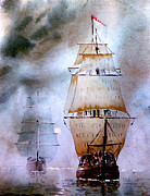 Tall Ships Prints - Out of the mist Print by Steven Ponsford
