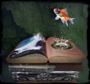 Goldfish Digital Art Prints - Out of the Pond Print by Karen Koski