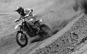 Motorcycle Racing Framed Prints - Out Of The Turn 1 Monochrome Framed Print by Bob Christopher