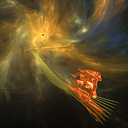 Flames Digital Art Posters - Out of the Wormhole Poster by Gordon Engebretson
