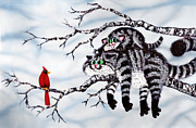 Humorous Cat Paintings - Out on a Limb by Baron Dixon
