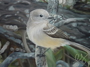 Flycatcher Pastels Prints - Out on a Limb Print by Estephy Sabin Figueroa