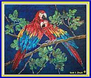 Parrot Tapestries - Textiles Metal Prints - Out on a Limb- Macaws Parrots - Bordered Metal Print by Sue Duda